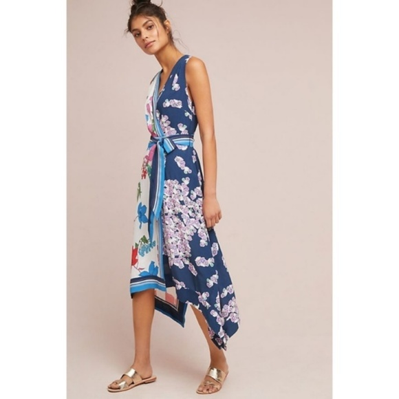 aff79fe85522 Anthropologie Dresses & Skirts - Anthropologie Maeve Blue Motif Botanica Midi  Dress